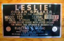 Picture of the Leslie serial number